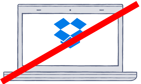 Screenshot of the Dropbox logo with a diagonal red line over it