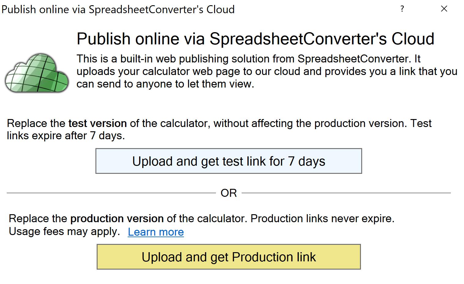 Screenshot of the Publish to Cloud window