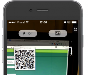 Screenshot of a QR code scanning app for iPhone