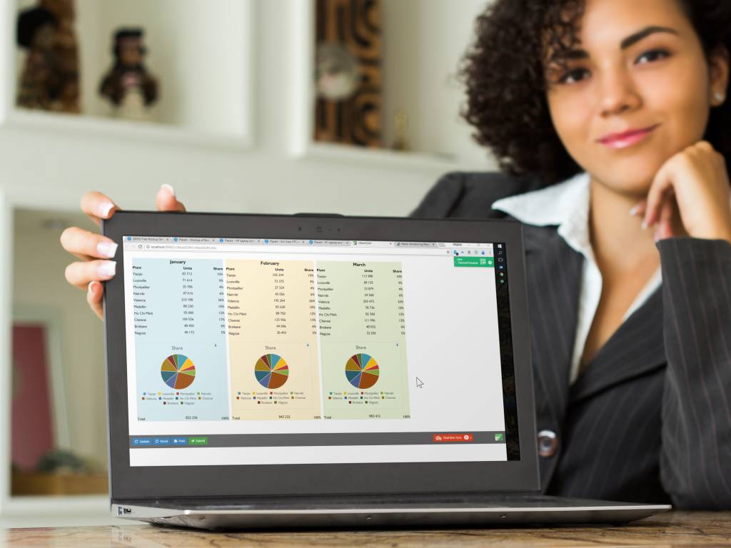 Photo of a woman with a laptop screen showing a manufacturing plant dashboard