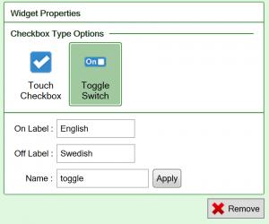 Screenshot of the Toggle switch checkbox widget