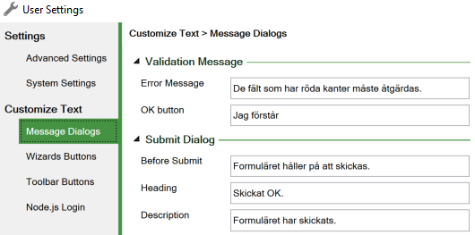 Screenshot of the Message Dialogs tab of the Customize Text section in the User settings