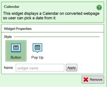 Screenshot of the settings for the Calendar widget