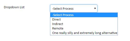 Screenshot of an example of the Dropdown widget
