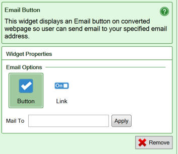Screenshot of the settings for the E-mail button widget