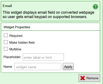 Screenshot of the settings for the E-mail widget