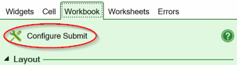 Screenshot of the Configure Submit link on the Workbook tab