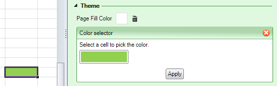 Screenshot of the Page Fill Color setting