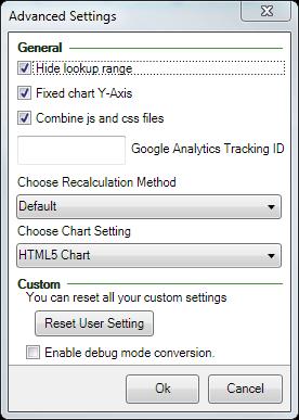 Screenshot of the Advanced settings