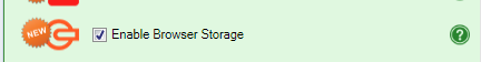 Screenshot of the Enable Browser Storage checkbox in the Workbook tab of the task pane