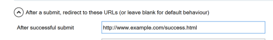 Screenshot of the After successful submit link in the Configure Submit settings