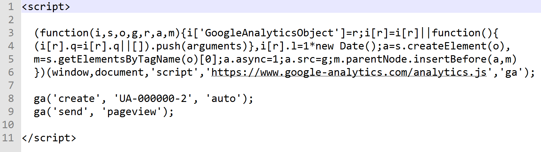 Screenshot of the Google Analytics code snippet in the converted web page
