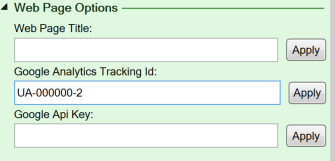 Screenshot of the Web page options on the Workbook tab of the task pane
