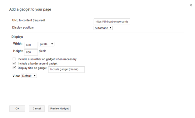 Screenshot of the properties for the insert iframe widget in Google Sites