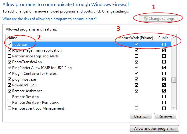 Screenshot of the WIndows Firewall settings in WIndows 7
