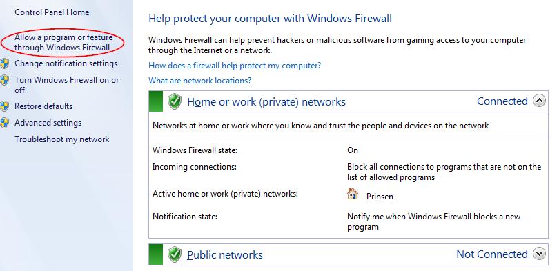 Screenshot of the WIndows Firewall Control Panel in Windows 7