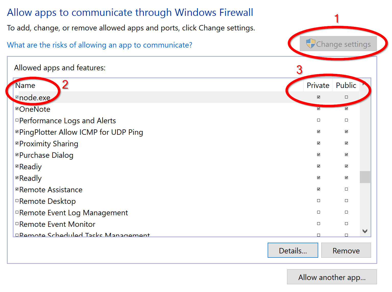 Screenshot of the Windows Firewall settings in Windows 8 or 10