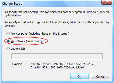 Screenshot of the Scope settings in the Windows Vista Firewall