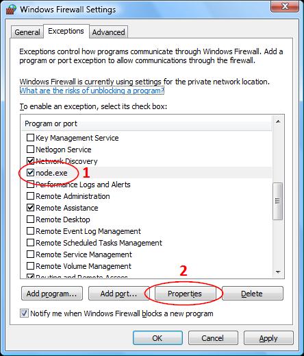 Screenshots of the Windows Firewall Exceltions tab in Windows Vista