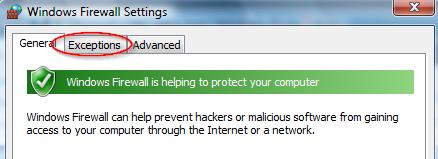 Screenshot of the Windows Firewall settings in WIndows Vista