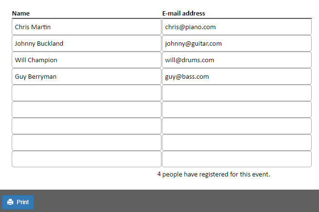 Screenshot of the signup list on the web