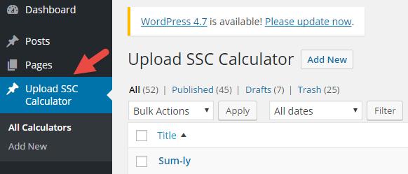 upload calculator menu in wordpress