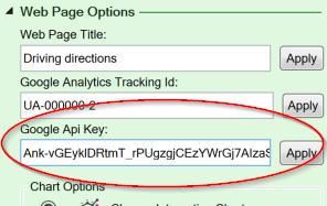 Screenshot of the Google Maps API key setting on the Workbook tab of the task pane