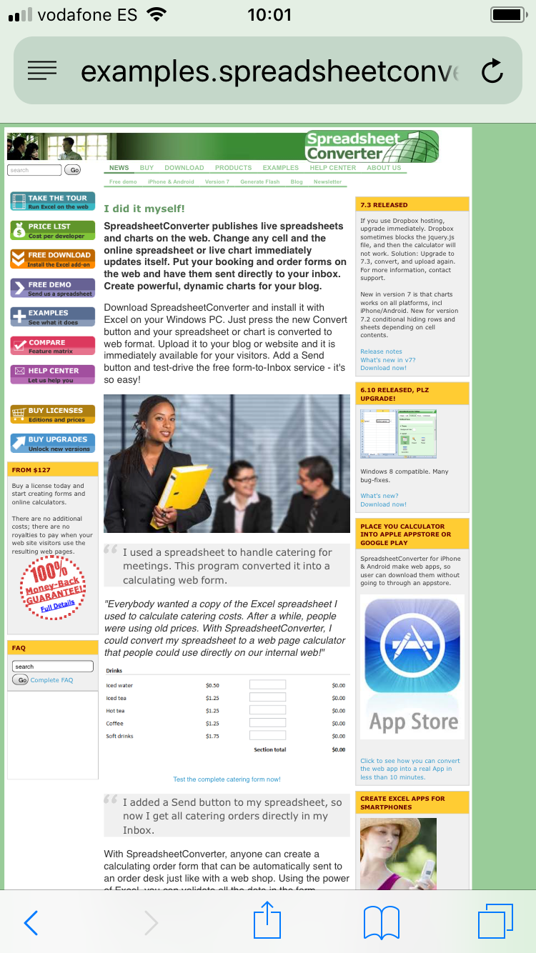 Screenshot of our old, non-responsive web page as it looks on an iPhone