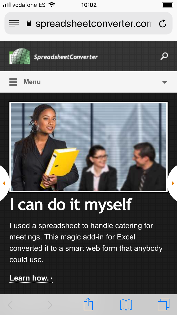 Screenshot of new, responsive web page as it looks on an iPhone