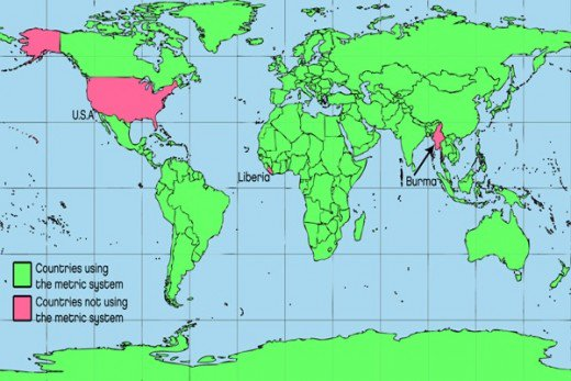 Map of countries using the metric system, and countries using US customary units