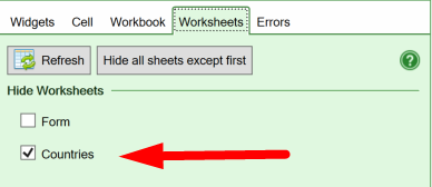 Screenshot of the Worksheet tab on the task pane where you can hide background worksheets