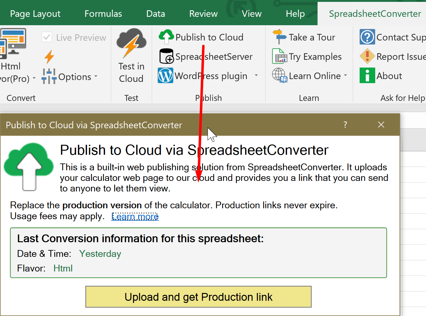 Screenshot of the Publish to Cloud menu in the ribbon