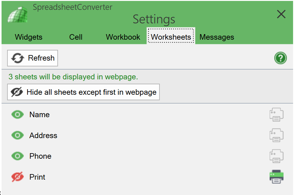 Screenshot of the Worksheets tab in SpreadsheetConverter